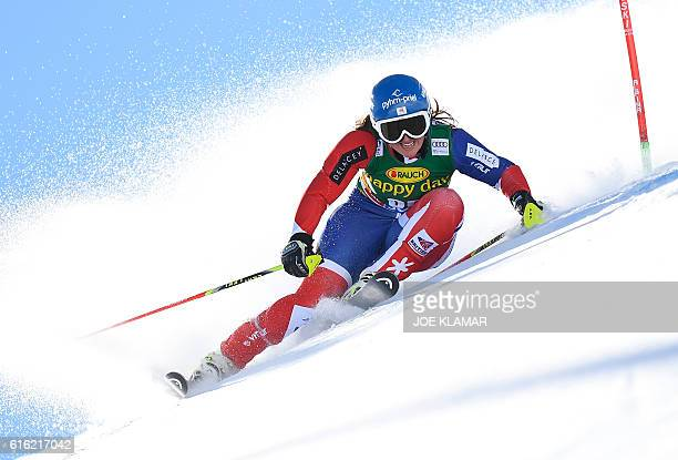 Alexandra Tilley of Great Britain competes during the first run of the ladies' giant slalom of the FIS ski world cup in Soelden Austria on October 22...