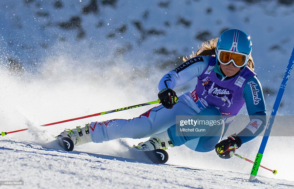 Alexandra Tilley of Great Britain during the Audi FIS Ski World Cup women's giant slalom race on the Rettenbach Glacier on October 24, 2015 in Soelden, Austria.