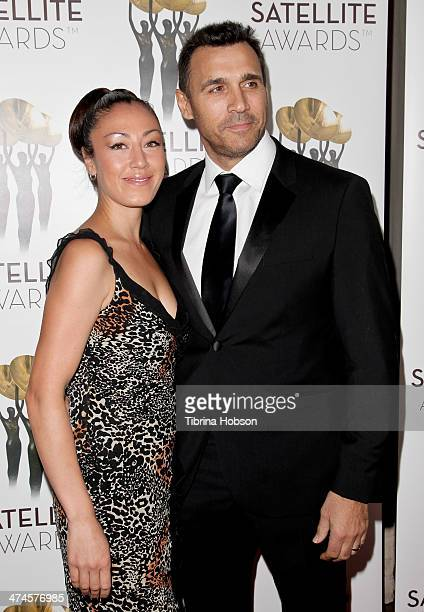 Alexandra Tonelli and Adrian Paul attend the International Press Academy Satellite Awards at InterContinental Hotel on February 23 2014 in Century...