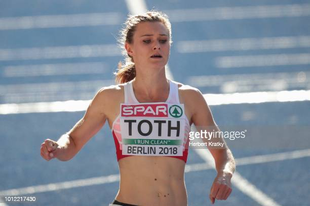 Alexandra Toth of Austria competes in heat 2 of the 100m women qualification at Olympiastadion on August 6 2018 in Berlin Germany