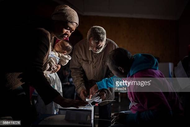 Alexandra township residents cast their votes during the 2016 Local Government Elections on August 03 2016 in Johannesburg South Africa The...