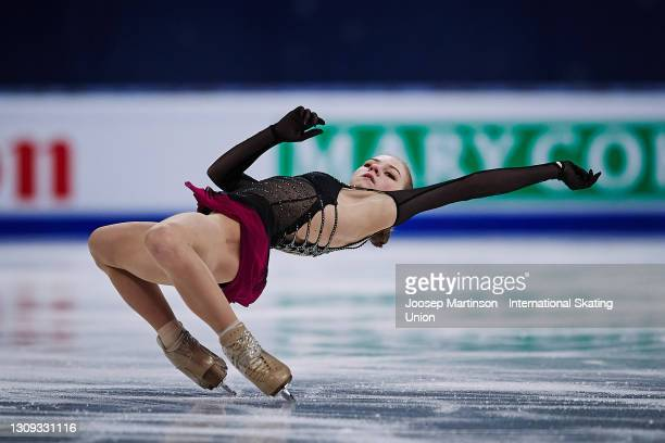 Alexandra Trusova of FSR competes in the Ladies Free Skating during day three of the ISU World Figure Skating Championships at Ericsson Globe on...