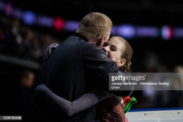 Alexandra Trusova of Russia celebrates with her coach Sergei Dudakov in the Junior Ladies Free Skating during day two of the ISU Junior Grand Prix of...