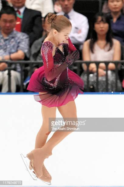 Alexandra Trusova of Russia competes during the figure skating Japan Open at the Saitama Super Arena on October 05, 2019 in Saitama, Japan.