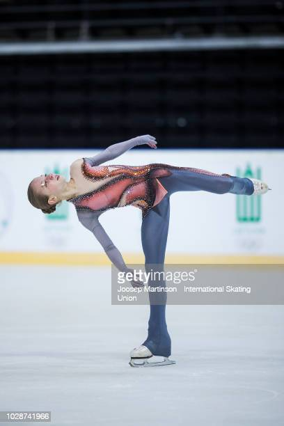 Alexandra Trusova of Russia competes in the Junior Ladies Free Skating during day two of the ISU Junior Grand Prix of Figure Skating Amber Cup 2018...
