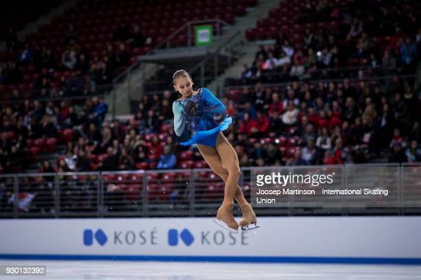 Alexandra Trusova of Russia competes in the Junior Ladies Free Skating during the World Junior Figure Skating Championships at Arena Armeec on March...