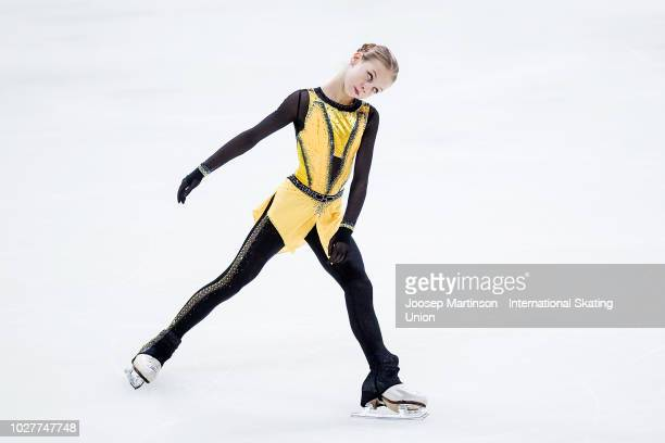 Alexandra Trusova of Russia competes in the Junior Ladies Short Program during the ISU Junior Grand Prix of Figure Skating Amber Cup 2018 at Zalgirio...