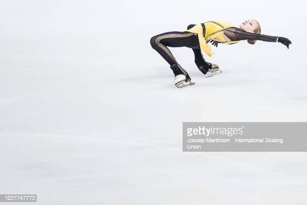 Alexandra Trusova of Russia competes in the Junior Ladies Short Program during the ISU Junior Grand Prix of Figure Skating Amber Cup 2018 at Zalgirio...