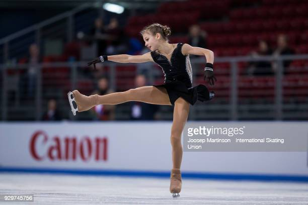 Alexandra Trusova of Russia competes in the Junior Ladies Short Program during the World Junior Figure Skating Championships at Arena Armeec on March...