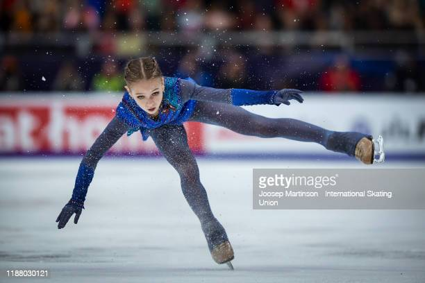 Alexandra Trusova of Russia competes in the Ladies Free Skating during day 2 of the ISU Grand Prix of Figure Skating Rostelecom Cup at Megasport...