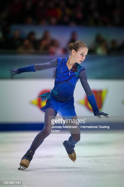 Alexandra Trusova of Russia competes in the Ladies Free Skating during day 4 of the ISU European Figure Skating Championships at Steiermarkhalle on...