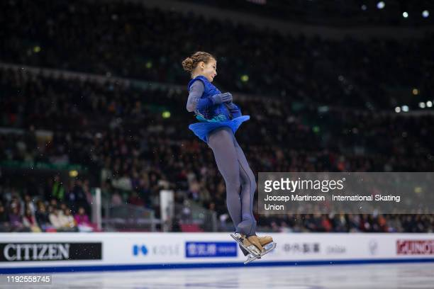 Alexandra Trusova of Russia competes in the Ladies Free Skating during the ISU Grand Prix of Figure Skating Final at Palavela Arena on December 07,...