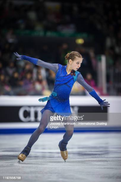 Alexandra Trusova of Russia competes in the Ladies Free Skating during the ISU Grand Prix of Figure Skating Final at Palavela Arena on December 07...