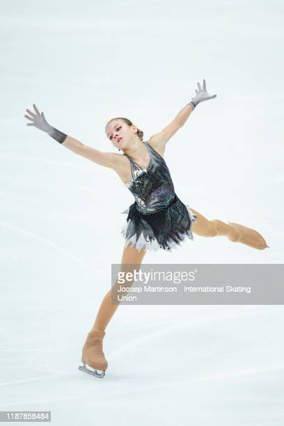 Alexandra Trusova of Russia competes in the Ladies Short Program during day 1 of the ISU Grand Prix of Figure Skating Rostelecom Cup at Megasport...