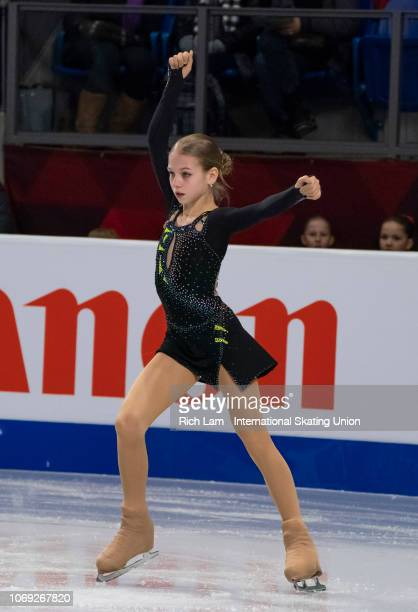Alexandra Trusova of Russia competes in the Short Program of the Junior Women's competition at the ISU Junior and Senior Grand Prix of Figure Skating...