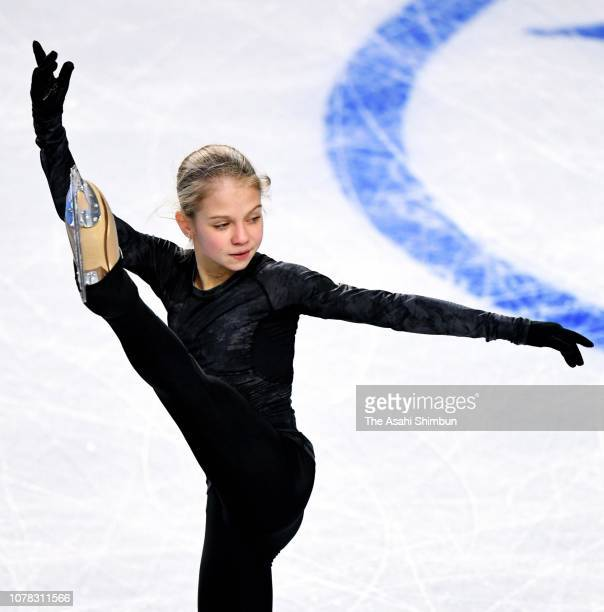 Alexandra Trusova of Russia in action during a practice session ahead of the ISU Junior Senior Grand Prix of Figure Skating Final at Doug Mitchell...