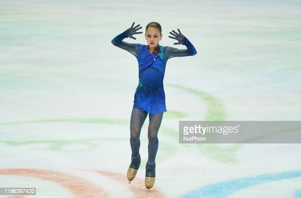 Alexandra Trusova of Russia in action during Ladies Free Skating at ISU European Figure Skating Championships in Steiermarkhalle Graz Austria on...