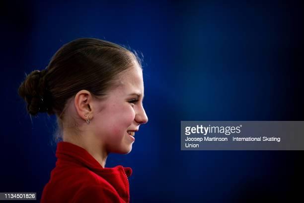 Alexandra Trusova of Russia looks on after the Junior Ladies Short Program during day 3 of the ISU World Junior Figure Skating Championships Zagreb...