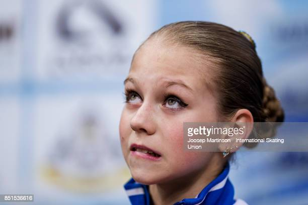 Alexandra Trusova of Russia looks on at the kiss and cry in the Junior Ladies Free Skating during day two of the ISU Junior Grand Prix of Figure...