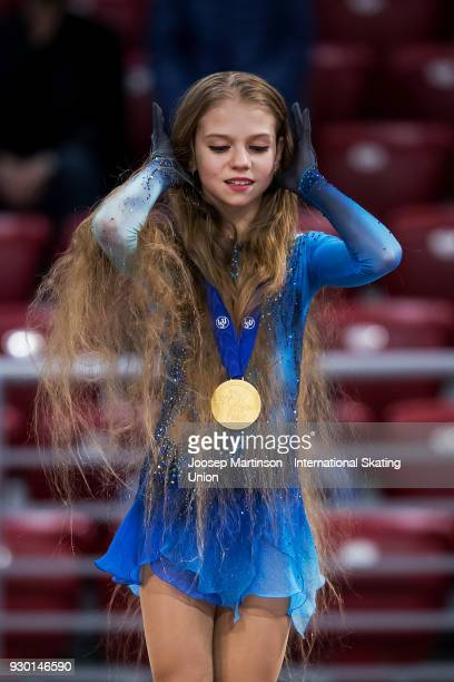 Alexandra Trusova of Russia looks on in the Junior Ladies medal ceremony during the World Junior Figure Skating Championships at Arena Armeec on...
