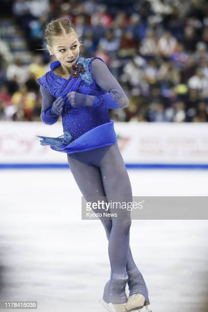 Alexandra Trusova of Russia performs in the women's free program on her way to winning gold at Skate Canada International in Kelowna Canada on Oct 26...