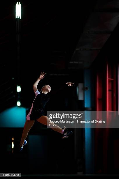 Alexandra Trusova of Russia poses for a photo ahead of the Gala Exhibition during day 5 of the ISU World Junior Figure Skating Championships Zagreb...