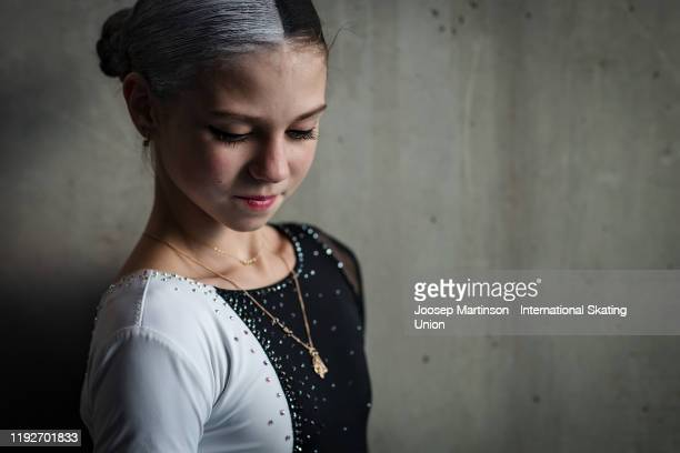 Alexandra Trusova of Russia poses for a photo ahead of the Gala Exhibition during the ISU Grand Prix of Figure Skating Final at Palavela Arena on...
