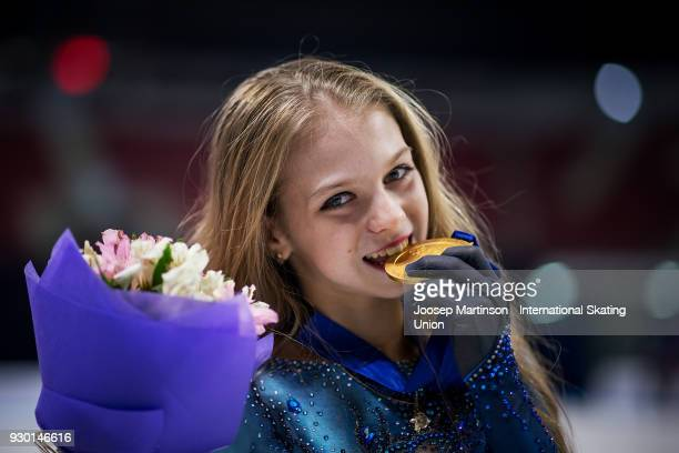 Alexandra Trusova of Russia poses in the Junior Ladies medal ceremony during the World Junior Figure Skating Championships at Arena Armeec on March...