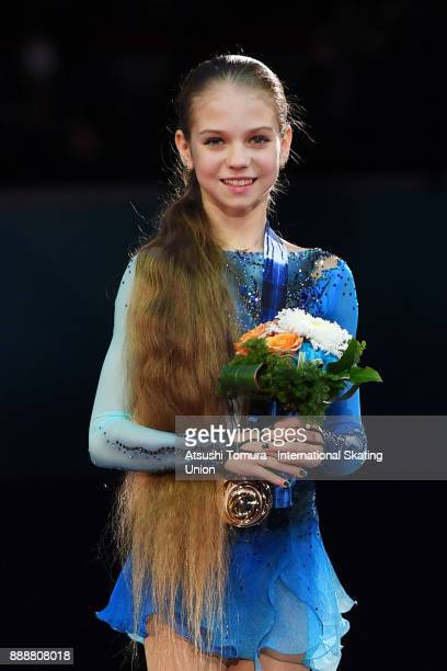 Alexandra Trusova of Russia poses on the podium after the Junior ladies free skating during the ISU Junior Senior Grand Prix of Figure Skating Final...