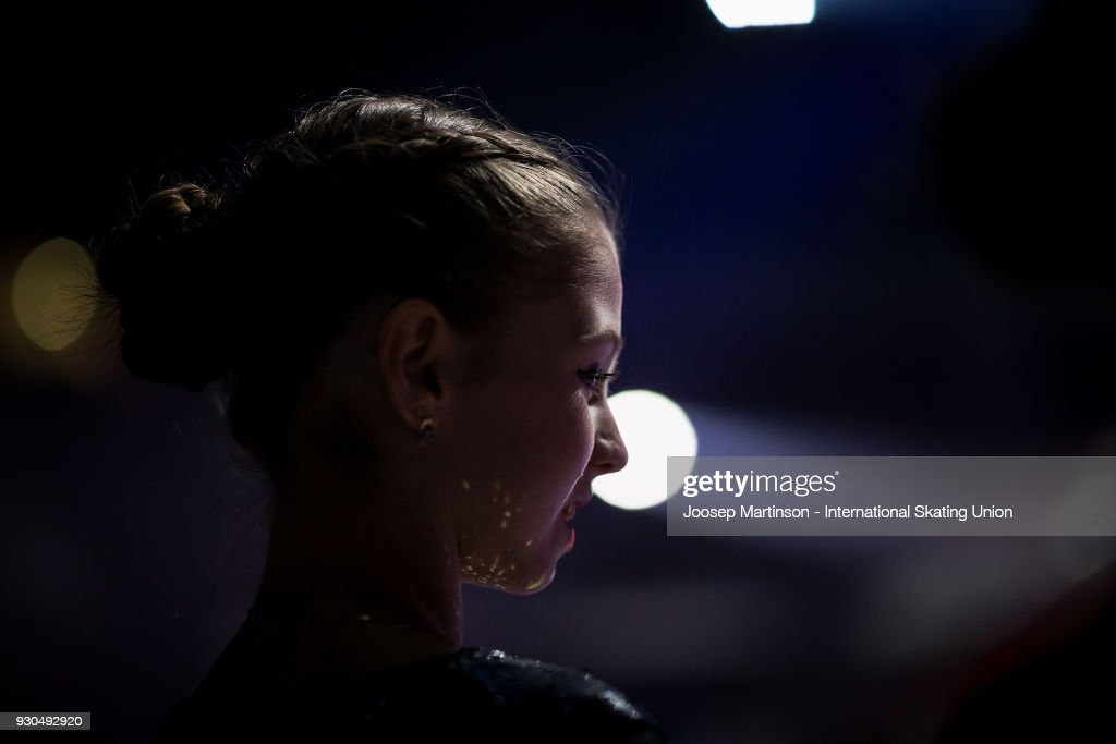 Alexandra Trusova of Russia prepares in the Gala Exhibition during the World Junior Figure Skating Championships at Arena Armeec on March 11, 2018 in Sofia, Bulgaria.