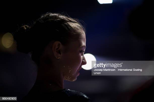 Alexandra Trusova of Russia prepares in the Gala Exhibition during the World Junior Figure Skating Championships at Arena Armeec on March 11 2018 in...