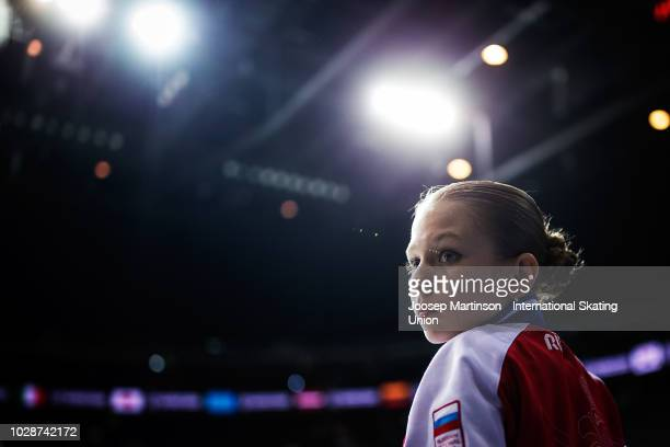 Alexandra Trusova of Russia prepares in the Junior Ladies Free Skating during day two of the ISU Junior Grand Prix of Figure Skating Amber Cup 2018...