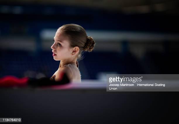 Alexandra Trusova of Russia prepares in the Junior Ladies Free Skating during day 4 of the ISU World Junior Figure Skating Championships Zagreb at...