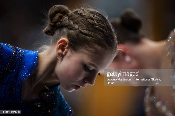 Alexandra Trusova of Russia prepares in the Ladies Free Skating during day 2 of the ISU Grand Prix of Figure Skating Rostelecom Cup at Megasport...