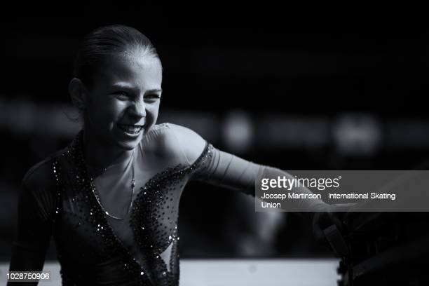 Alexandra Trusova of Russia reacts as she comes off the ice in the Junior Ladies Free Skating during day two of the ISU Junior Grand Prix of Figure...