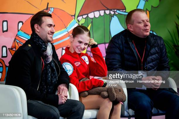 Alexandra Trusova of Russia reacts at the kiss and cry in the Junior Ladies Short Program during day 3 of the ISU World Junior Figure Skating...