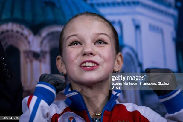 Alexandra Trusova of Russia reacts at the kiss and cry in the Junior Ladies Free Skating during the World Junior Figure Skating Championships at...