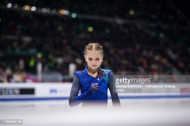 Alexandra Trusova of Russia reacts in the Ladies Free Skating during the ISU Grand Prix of Figure Skating Final at Palavela Arena on December 07,...