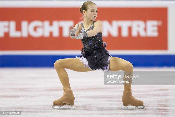 Alexandra Trusova of Russia skates her short program at the 2019 Skate Canada International ISU Grand Prix event in Kelowna Canada on October 25 2019