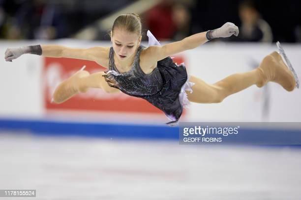 TOPSHOT Alexandra Trusova of Russia skates her short program at the 2019 Skate Canada International ISU Grand Prix event in Kelowna Canada on October...