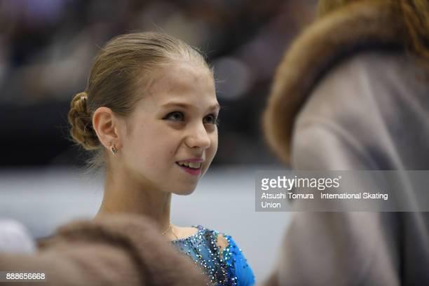 Alexandra Trusova of Russia smiles before the Junior ladies free skating dance during the ISU Junior Senior Grand Prix of Figure Skating Final at...