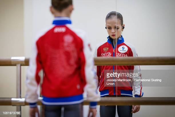 Alexandra Trusova of Russia warms up ahead of the Ladies Free Skating during the ISU Junior Grand Prix of Figure Skating at Irina Rodnina Ice Rink on...
