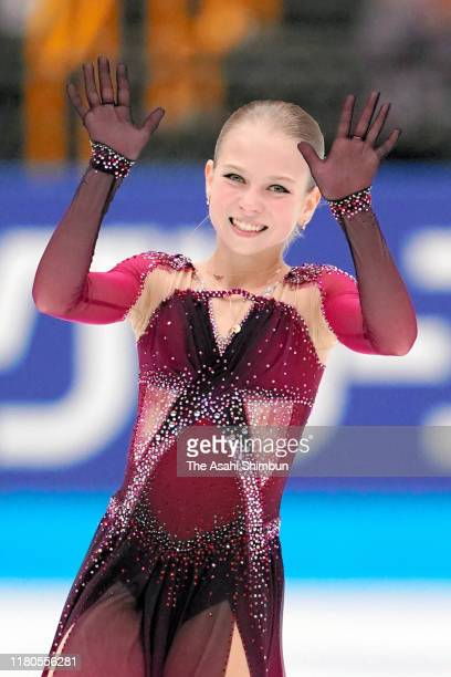 Alexandra Trusova of Russia waves after competing during the figure skating Japan Open at the Saitama Super Arena on October 05, 2019 in Saitama,...
