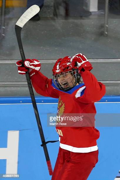 Alexandra Vafina of Russia celebrates after scoring a goal in the third period against Nana Fujimoto of Japan during the Women's Ice Hockey...