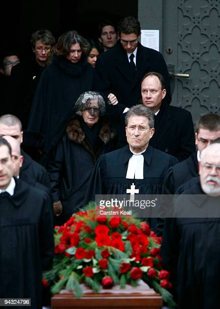 Alexandra von der Wenge Graefin Lambsdorff and Nikolaus von der Wenge Graf Lambsdorff follow the coffin at the end of the funeral service for Otto...