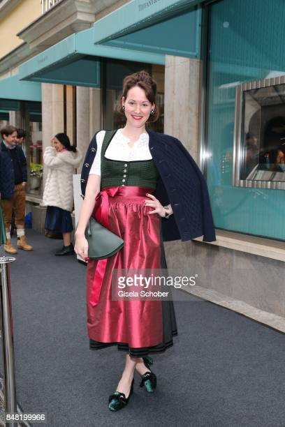 Alexandra von Frankenberg, dirndl designer Amsel Fashion during the 'Fruehstueck bei Tiffany' at Tiffany Store ahead of the Oktoberfest on September...