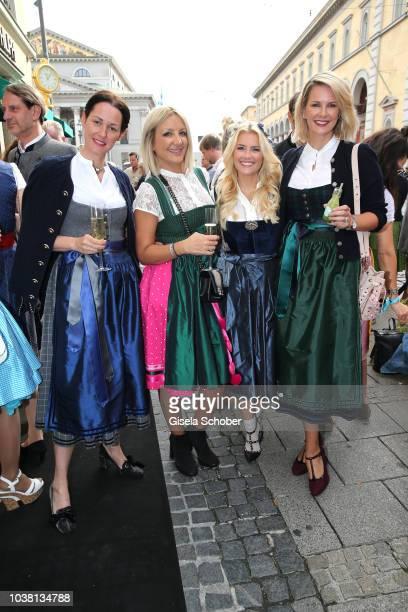 Alexandra von Frankenberg dirndl fashion designer of Amsel Fashion Ayse Auth Haarwerk Jennifer Knaeble and Monica Ivancan during the 'Fruehstueck bei...