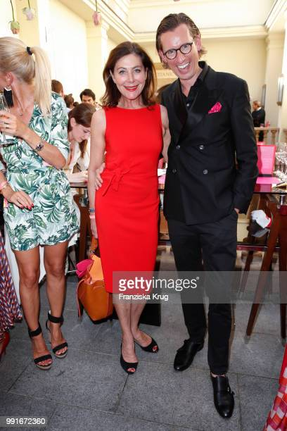 Alexandra von Rehlingen and Eike Knueppel during the GRAZIA Pink Hour at Titanic Hotel on July 4 2018 in Berlin Germany