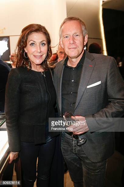 Alexandra von Rehlingen and Johannes B Kerner attend the Montblanc House Opening on February 09 2016 in Hamburg Germany