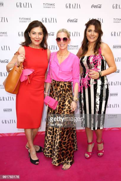 Alexandra von Rehlingen Tamara Nayhauss and Sedef Ayguen during the Grazia Pink Hour at Titanic Hotel on July 4 2018 in Berlin Germany